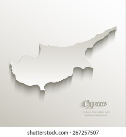 Cyprus map card paper 3D natural vector