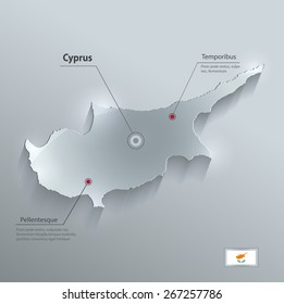 Cyprus map flag glass card paper 3D raster