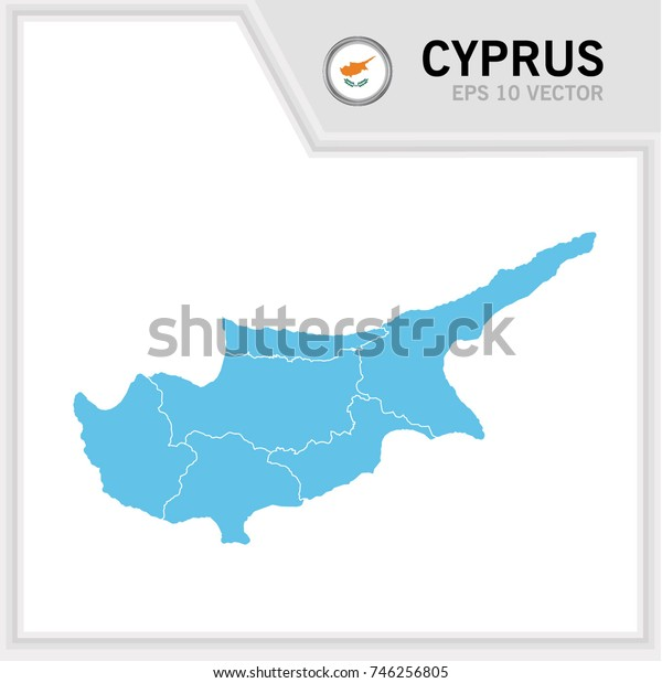Cyprus map and flag in white background