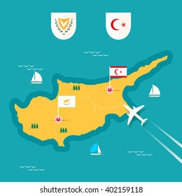 Cyprus map in flat style