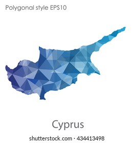 Cyprus map in geometric polygonal style.Abstract gems triangle,modern design background.Vector illustration EPS10