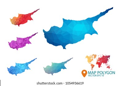 Cyprus Map - Set of geometric rumpled triangular low poly style gradient graphic background , Map world polygonal design for your . Vector illustration eps 10.