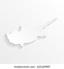 Cyprus Map with shadow. Cut paper isolated on a white background. Vector illustration.