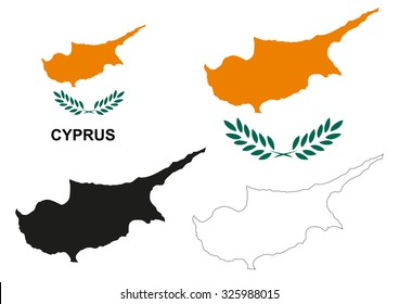 Cyprus map vector, Cyprus flag vector, isolated Cyprus