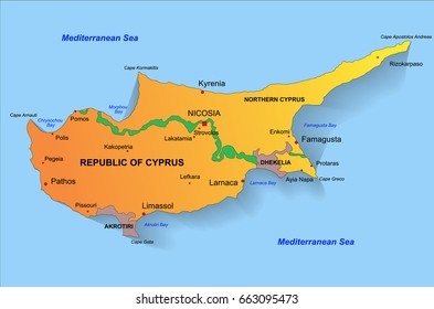 Cyprus political color map with capital Nicosia, national borders, important cities