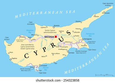 Cyprus Political Map with capital Nicosia, national borders, important cities and rivers. English labeling and scaling. Illustration.