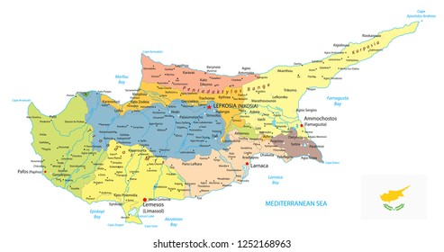 Cyprus Political Map isolated on white. Detail administrative vector map of Cyprus.