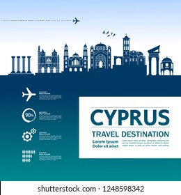 Cyprus Travel Destination Vector.