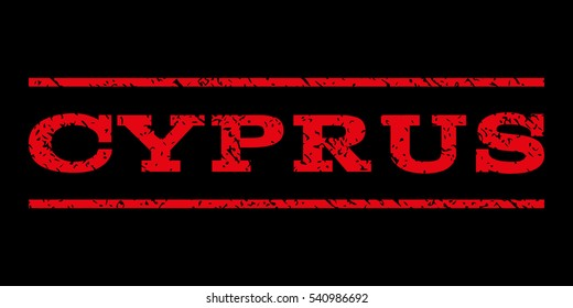 Cyprus watermark stamp. Text tag between horizontal parallel lines with grunge design style. Rubber seal stamp with dirty texture. Vector red color ink imprint on a black background.