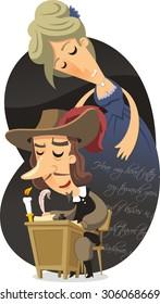 Cyrano de Bergerac vector cartoon illustration