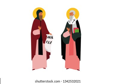 Cyril and Methodius illustration with ancient alphabet writing