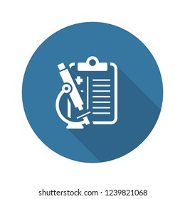 Cytology and Medical Services Flat Icon Design. Clipboard with Microscope