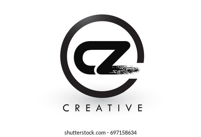 CZ Brush Letter Logo Design with Black Circle. Creative Brushed Letters Icon Logo.