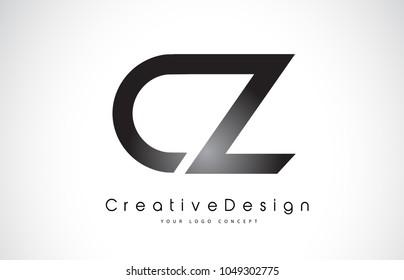CZ C Z Letter Logo Design in Black Colors. Creative Modern Letters Vector Icon Logo Illustration.
