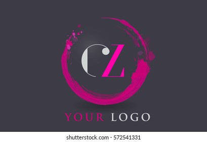 CZ Circular Letter Brush Logo. Pink Brush with Splash Concept Design.
