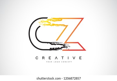 CZ Creative Modern Logo Design Vetor with Orange and Black Colors. Monogram Stroke Letter Design.