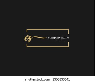 CZ Initial handwriting logo vector. Hand lettering for designs.