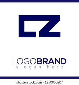 cz Initial Letter lowercase Linked logo icon vector