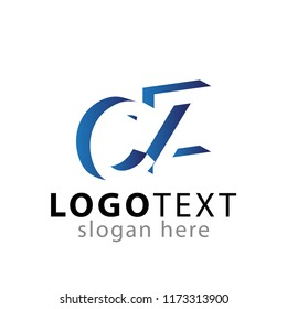 CZ initial letter with negative space logo icon vector template