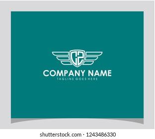 CZ initial shield wings monogram geometric template letter icon logo design vector eps 10