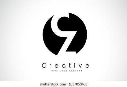CZ Letter Logo Design inside a Black Circle. Creative Lettering Logo Vector Illustration.