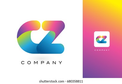 CZ Logo Letter With Rainbow Vibrant Colors. Colorful Modern Trendy Purple and Magenta Letters Vector Illustration.