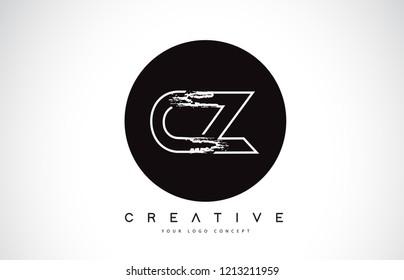 CZ Modern Leter Logo Design with Black and White Monogram. Creative Letter Logo Brush Monogram Vector Design.