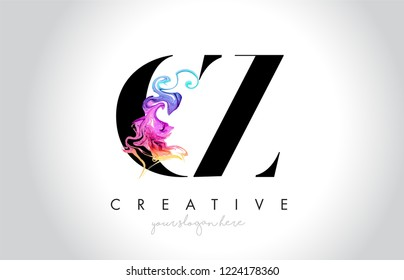 CZ Vibrant Creative Leter Logo Design with Colorful Smoke Ink Flowing Vector Illustration.