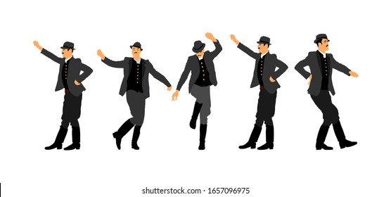 Czardas dancer vector illustration. Folklore of Hungary. Bavarian man on October fest. Polka dance performer.  East Europe traditional festival attraction. Man dancing wedding dance. Balkan culture.