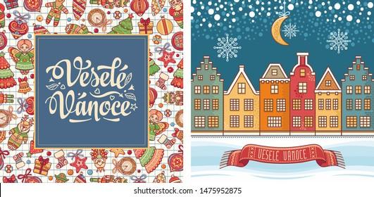 Czech Christmas Vesele Vanoce. Veselé Vánoce Bohemia Christmas lettering. Czech text. Christmas in different languages. Congratulations in Slavic Happy Christmas. Vesele Vanoce text typography