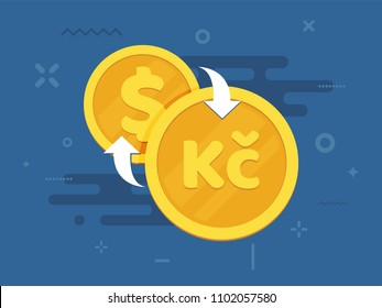 Czech crown brazil and dollar exchange concept. National currency signs. Finance symbol. Flat style vector illustration.