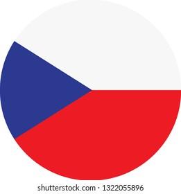 Czech flag. Simple vector round Czech  flag