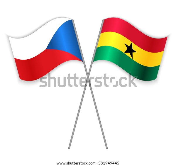 Czech and Ghanaian crossed flags. Czech Republic combined with Ghana isolated on white. Language learning, international business or travel concept.