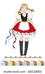 Czech girl in traditional costume and colorful village houses. Hand drawn vector illustration. Can be used for books, poster and postcard.