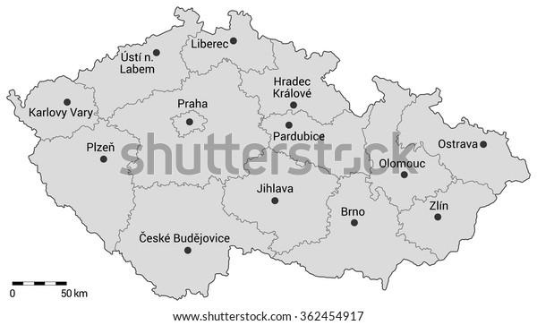 Stock Vektor Administrativni Mapa Ceske Republiky Regiony