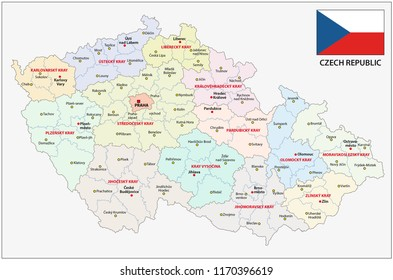 czech republic administrative and political map with flag.