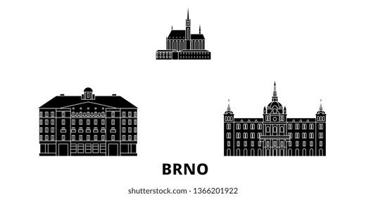 Czech Republic, Brno flat travel skyline set. Czech Republic, Brno black city vector illustration, symbol, travel sights, landmarks.