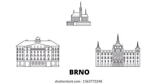 Czech Republic, Brno line travel skyline set. Czech Republic, Brno outline city vector illustration, symbol, travel sights, landmarks.