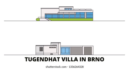 Czech Republic, Brno, Tugendhat Villa flat landmarks vector illustration. Czech Republic, Brno, Tugendhat Villa line city with famous travel sights, skyline, design.
