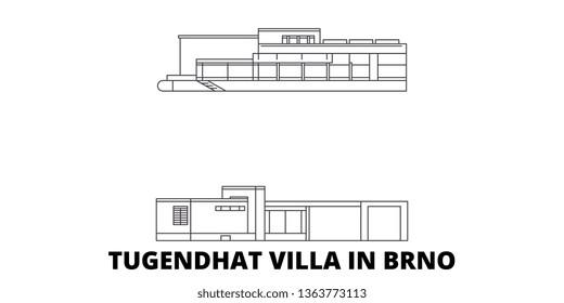 Czech Republic, Brno, Tugendhat Villa line travel skyline set. Czech Republic, Brno, Tugendhat Villa outline city vector illustration, symbol, travel sights, landmarks.