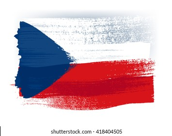 Czech Republic colorful brush strokes painted national country flag icon. Painted texture.