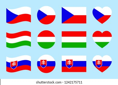 Czech Republic, Hungary, Slovakia flags vector set. Flat isolated icons. Hungarian, Czech, Slovak national symbols collection. Web, sports page, travelling touristic design element. Geometric shape