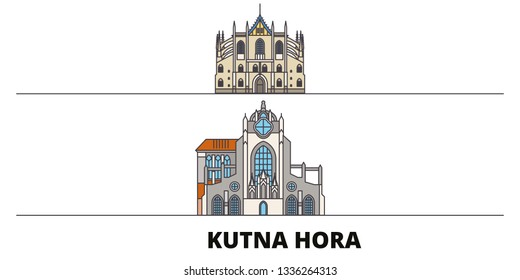 Czech Republic, Kutna Hora flat landmarks vector illustration. Czech Republic, Kutna Hora line city with famous travel sights, skyline, design.