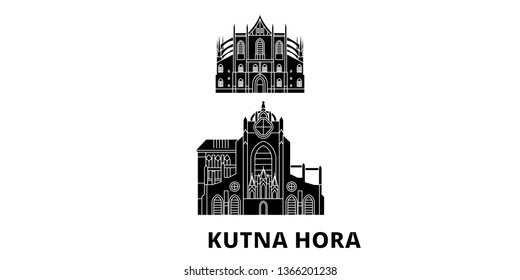Czech Republic, Kutna Hora flat travel skyline set. Czech Republic, Kutna Hora black city vector illustration, symbol, travel sights, landmarks.