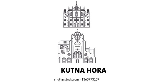 Czech Republic, Kutna Hora line travel skyline set. Czech Republic, Kutna Hora outline city vector illustration, symbol, travel sights, landmarks.