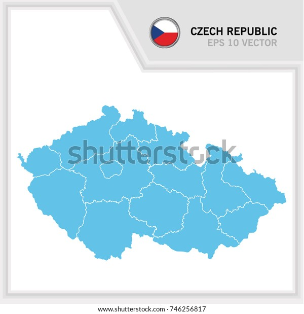 Czech Republic map and flag in white background