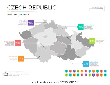 Czech republic map infographics with editable separated layers, zones, elements and district area in vector