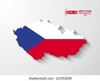 Czech Republic map with shadow effect