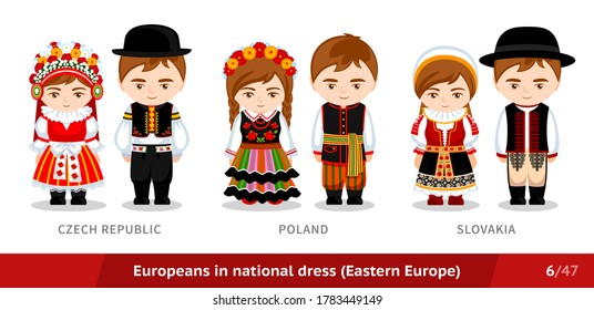 Czech Republic, Poland, Slovakia. Men and women in national dress. Set of european people wearing ethnic traditional costume. Isolated cartoon characters. Eastern Europe. Vector flat illustration.
