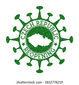 Czech Republic Reopening Stamp. Green round badge of country with map of Czech Republic. Country opening after lockdown. Vector illustration.